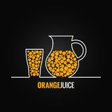 Orange juice glass bottle line design background Stock Photography