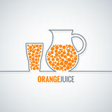 Orange juice glass bottle line vector background. 10 eps Stock Images