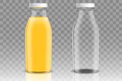 Orange juice glass bottle vector mockup set. Orange juice empty and full glass bottle mockup set. Vector realistic illustration isolated on transparent Royalty Free Illustration