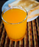 Orange juice glass. Close-up Orange juice glass stock photography