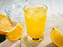 Orange juice in glass Stock Photo