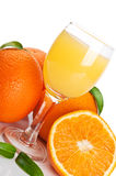 Orange juice in glass and fruits Stock Photos
