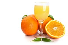 Orange juice in glass and fruits Royalty Free Stock Photo