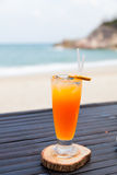 Orange juice in glass with ice Royalty Free Stock Photography