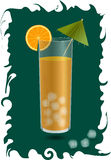 Orange juice in a glass with ice cubes. A slice of orange and a cocktail umbrella Royalty Free Stock Image