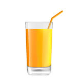 Orange Juice in Glass. Illustration Orange Juice in Glass with Bend Straw,  on White Background, Realistic Beverage - Vector Royalty Free Stock Image