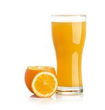 Orange juice glass isolated on white Stock Photo