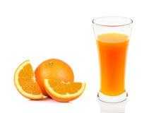 Orange juice of glass isolated on the white background Stock Image