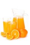 Orange juice in a glass jug Royalty Free Stock Image