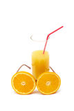 Orange juice. Glass with orage juice and orange goggles Royalty Free Stock Photo