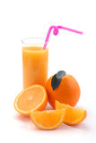 Orange juice in a glass and an orange Royalty Free Stock Images