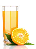 Orange juice in glass and orange Royalty Free Stock Image