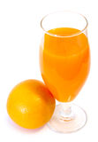 Orange juice in glass and orange. Orange juice in glass and orange on isolated background royalty free stock image