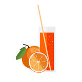 Orange juice in a glass with orange in flat style Royalty Free Stock Photos