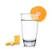 Orange juice in glass, Orange fruit with vitamin c tablet on whi Royalty Free Stock Photos