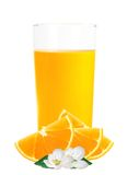 Orange juice in the glass and orange slices isolated on white Royalty Free Stock Image