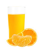 Orange juice in the glass and orange slices isolated on white Royalty Free Stock Photo