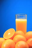 Orange Juice glass and Oranges. With copy space Stock Photography