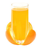 Orange juice in a glass on rind Stock Photo