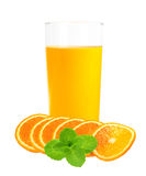 Orange juice in the glass and slices isolated on white Stock Image
