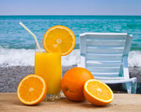 Orange juice in a glass on a table Royalty Free Stock Images