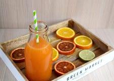 Orange juice in glass, vitamin drink Stock Photos