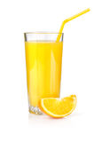 Orange juice in a glass  on a white Royalty Free Stock Image