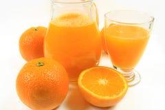 Orange juice. Glass of orange juice on white background Royalty Free Stock Photo