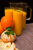 Orange juice with glasses Royalty Free Stock Image