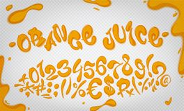Orange juice hand drawn signs and numbers. Vector illustration set on transparent background. Orange juice digits Stock Photo