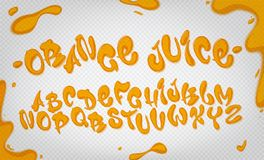 Orange juice hand drawn typeset, water alphabet, vector illustration. Orange juice hand drawn typeset, water alphabet, vector illustration on transparent Royalty Free Stock Image