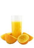 Orange juice with hand, squeeze of orange. Royalty Free Stock Photos