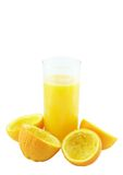 Orange juice with hand, squeeze of orange. Royalty Free Stock Images