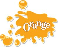 Orange juice or honey cartoon background with blots, drops and s. Plashes. Vector illustration Royalty Free Stock Photo