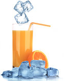 Orange Juice with ice cubes Stock Photo