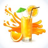 Orange juice ice Stock Photos
