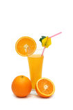 Orange and juice  isolated. On the white Stock Images