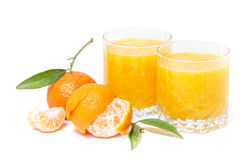 Orange juice isolated and clementines Stock Photos