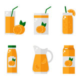 Orange juice isolated icons on white background. Orange juice bottle, glass, pack set. Flat style vector illustration Royalty Free Illustration