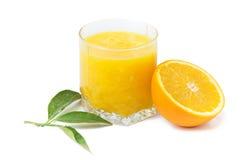 Orange juice. Isolated orange juice  with leaves on white background Stock Photo