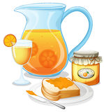Orange juice, jam and a sandwich Royalty Free Stock Photography
