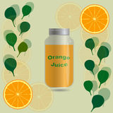 Orange juice in a jar bottle on a background with orange slices. Orange juice in a jar bottle on a background with leaves and orange slices Royalty Free Stock Image