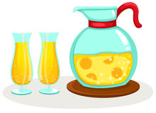 Orange juice in a jug and glasses Stock Image