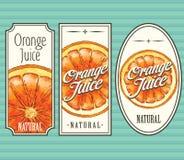 Orange juice labels set Stock Images