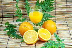 Orange and juice with leafs Royalty Free Stock Photography