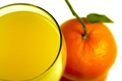 Orange juice and mandarin fruit Stock Photo