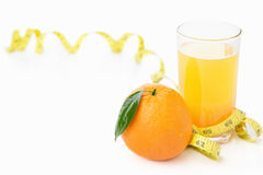 Orange and juice with measuring tape Stock Photo