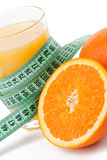 Orange juice and measuring tape Stock Image