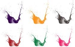 Orange juice, milk and chocolate splashes on a transparent background. 3d  illustration isolated on white. Spray paint. Spla Stock Photo