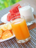 Orange juice and milk Royalty Free Stock Photography